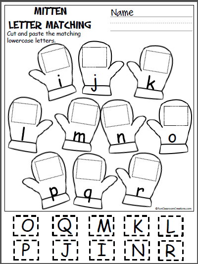 Free Alphabet Worksheets (letters i-r) Mitten Matching