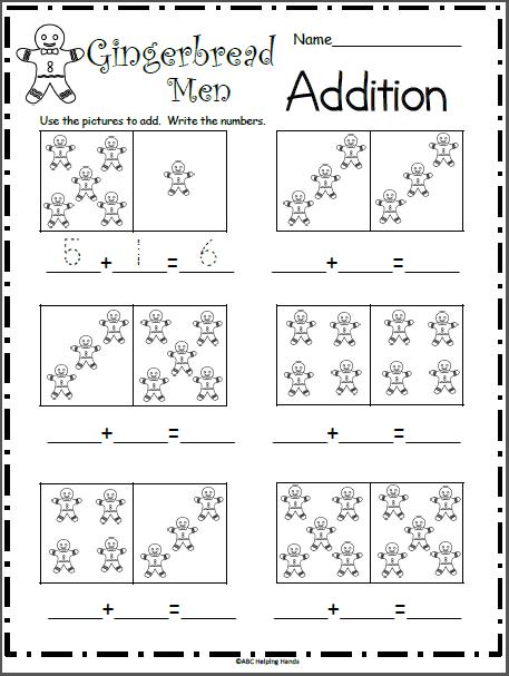 Gingerbread Man Addition Worksheet For Kindergarten