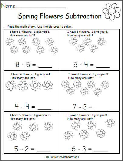 Free Spring Subtraction Math Worksheet