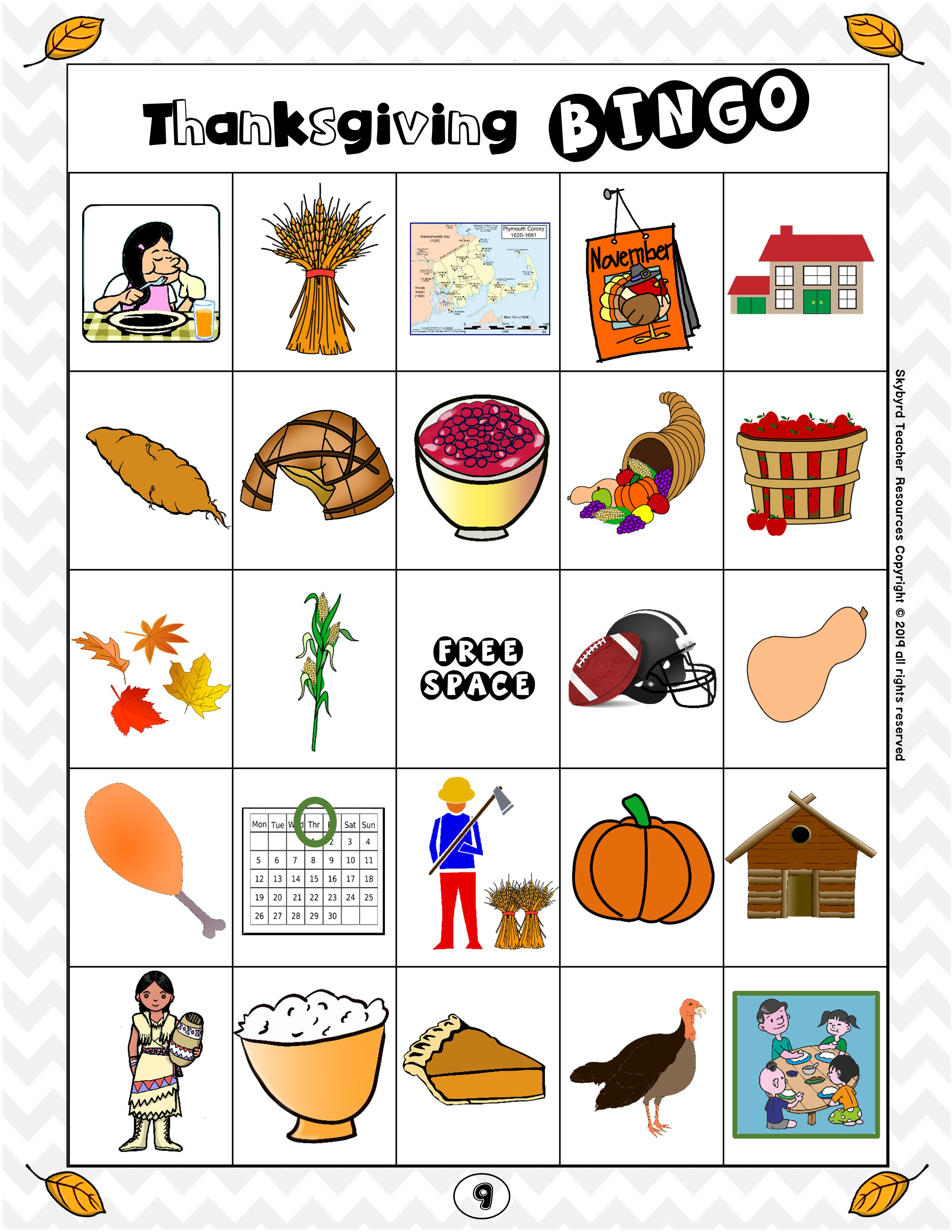 Esl Games Thanksgiving Vocabulary Bingo