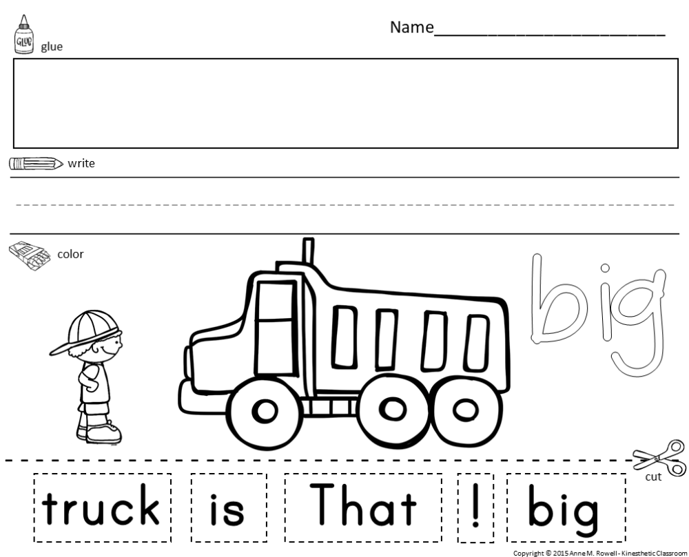 medium resolution of Sight Word Sentence Cut and Paste Worksheets Pre-Primer - Made By Teachers