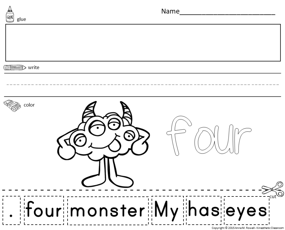 medium resolution of Sight Word Sentence Cut and Paste Worksheets Primer - Made By Teachers