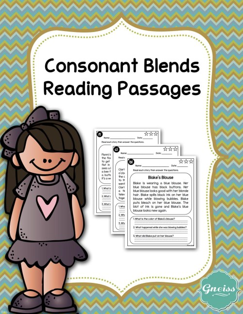 small resolution of Consonant Blends Reading Comprehension Passages - Made By Teachers