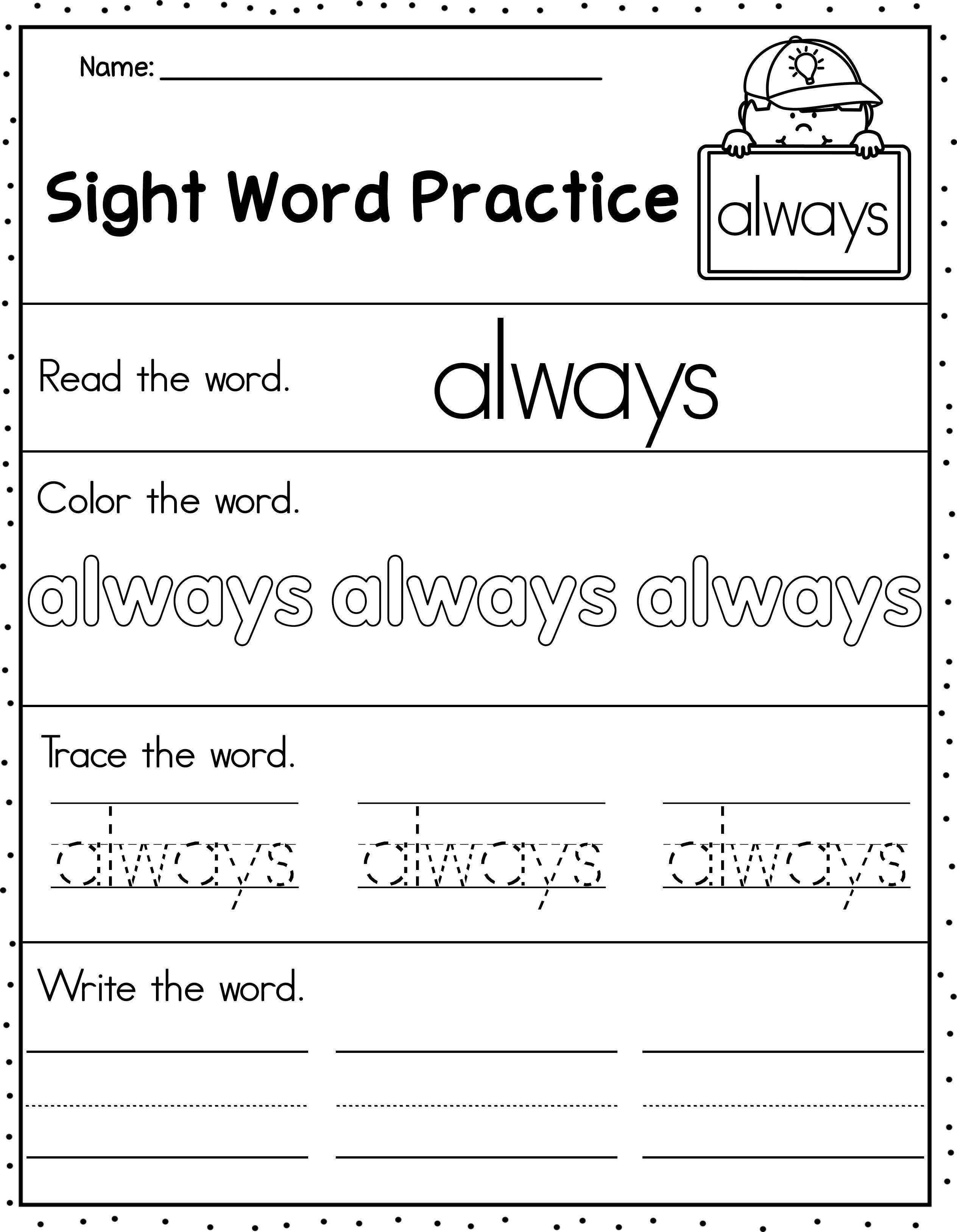 Dolch Second Grade Sight Words Practice