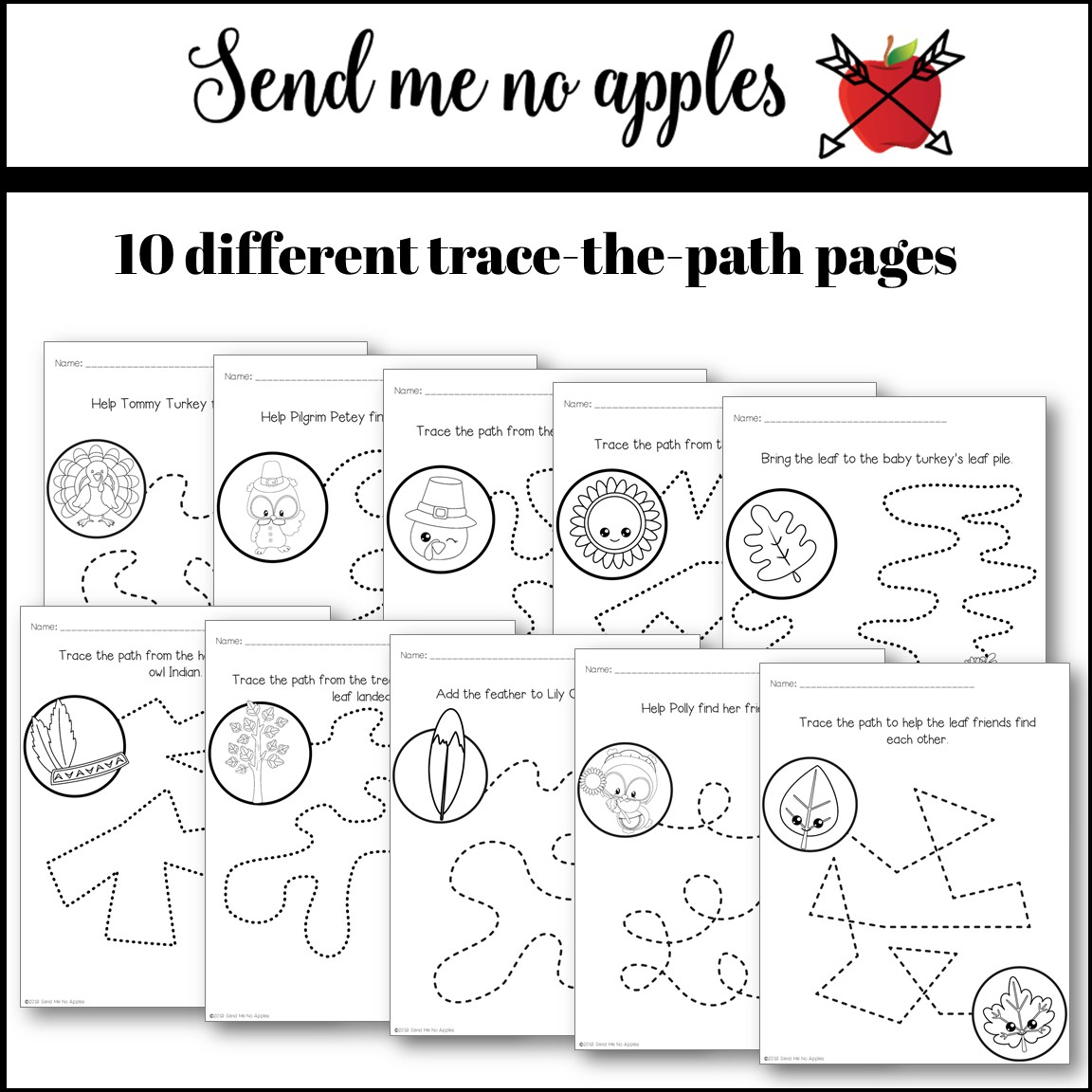Thanksgiving Trace the Path Fine Motor Activities