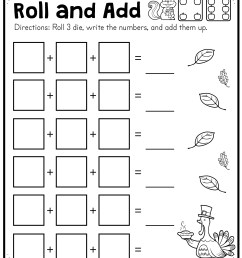 Fall Roll and Add Worksheet (First Grade) - Made By Teachers [ 3300 x 2550 Pixel ]