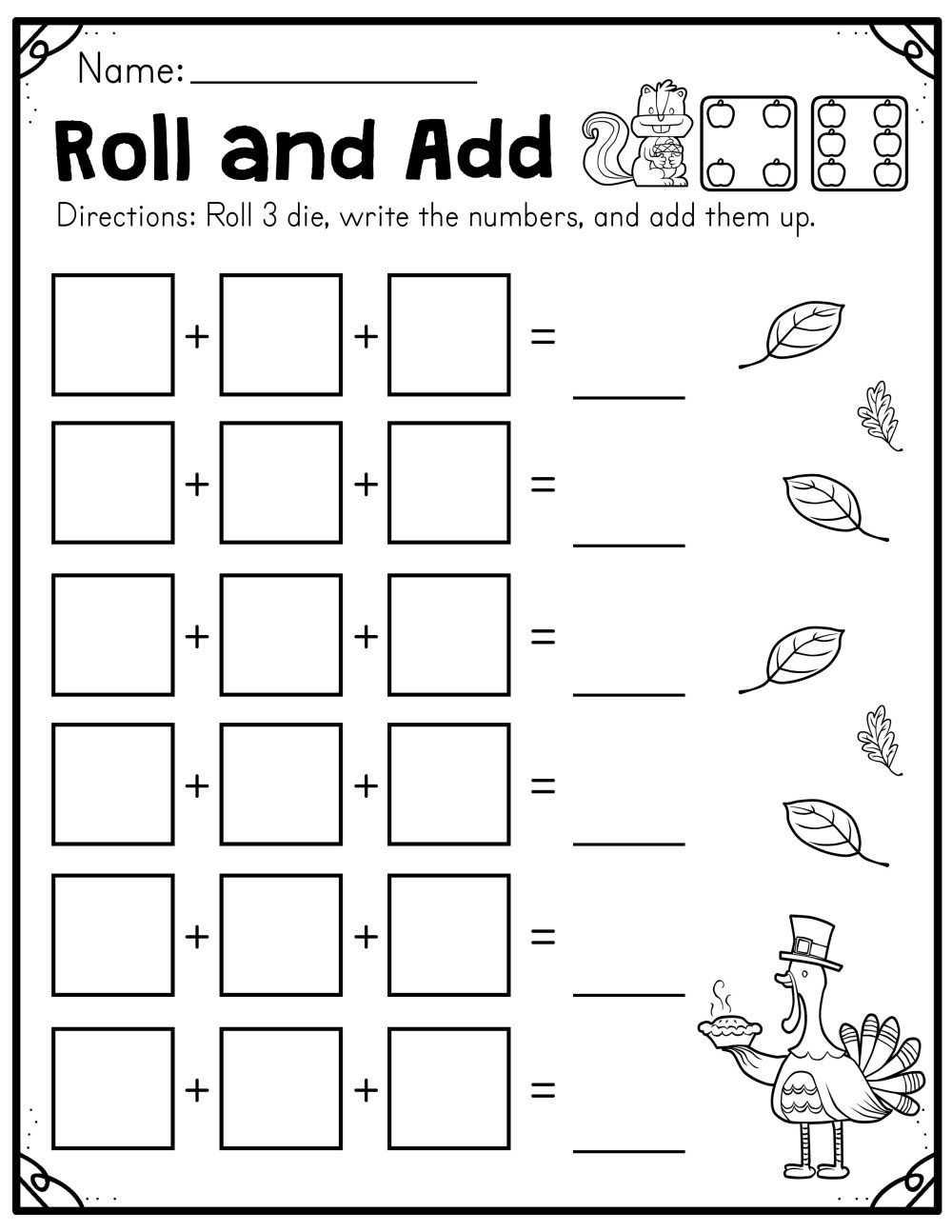 medium resolution of Fall Roll and Add Worksheet (First Grade) - Made By Teachers
