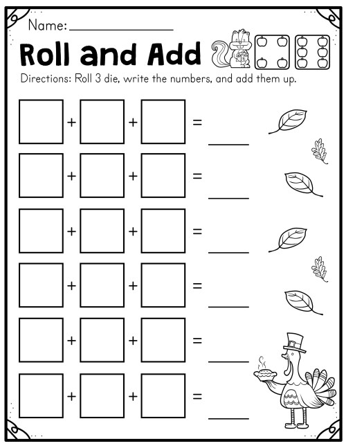 small resolution of Fall Roll and Add Worksheet (First Grade) - Made By Teachers