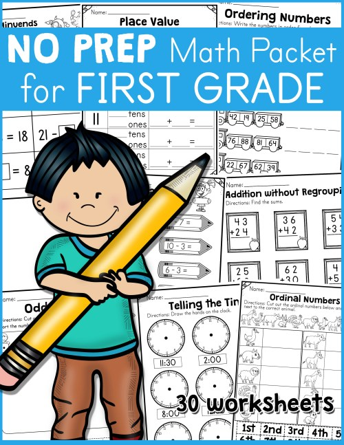 small resolution of NO PREP Math Packet for First Grade - Made By Teachers