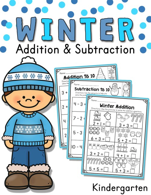 small resolution of Winter Addition and Subtraction Worksheets (1 to 10) - Made By Teachers