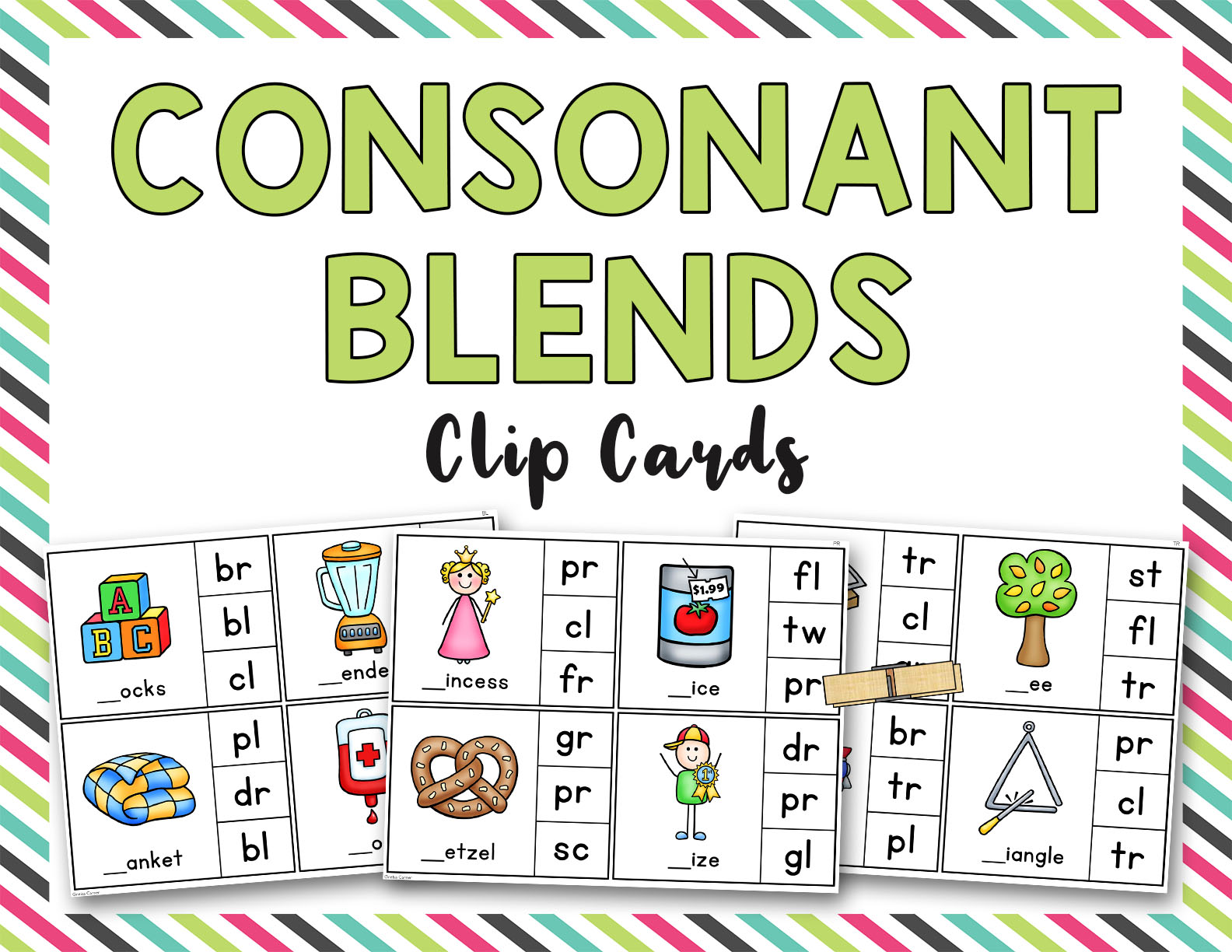 Consonant Blends Clip It Cards L R S Blends
