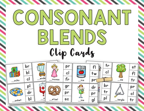 small resolution of Consonant Blends Clip it Cards (BL