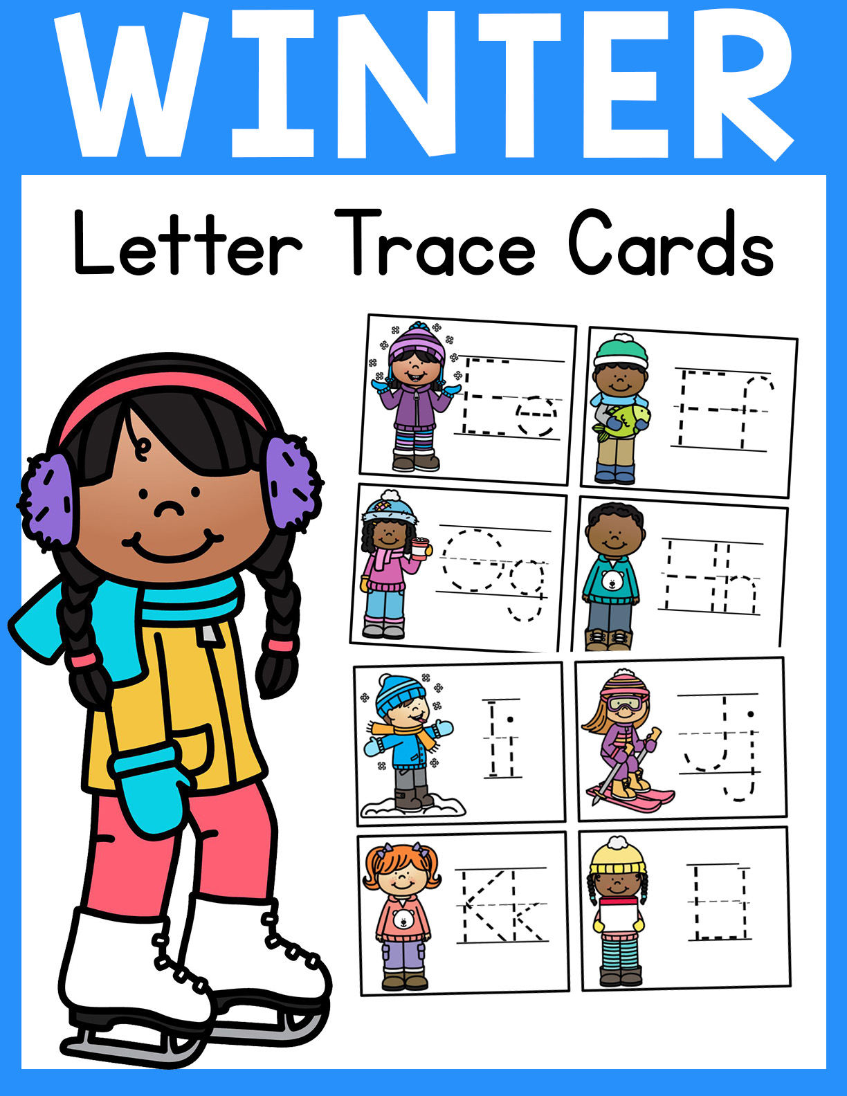 Winter Letter Tracing Cards