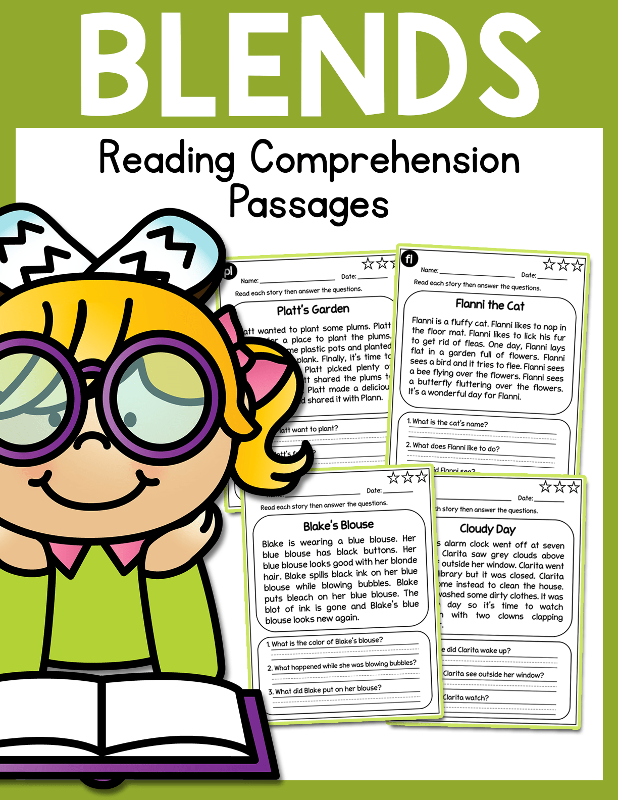 Consonant Blends Reading Comprehension Passages