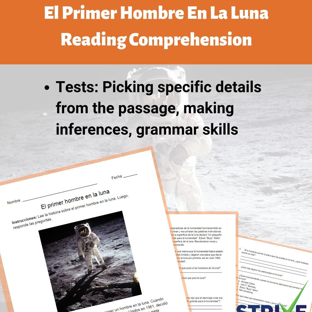 hight resolution of The First Man On The Moon Reading Comprehension Worksheet - Spanish Version  - Made By Teachers