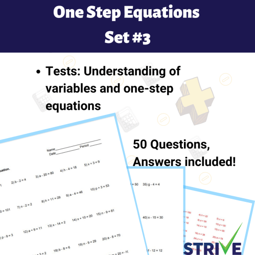 small resolution of One Step Equations - Set 3 - Made By Teachers
