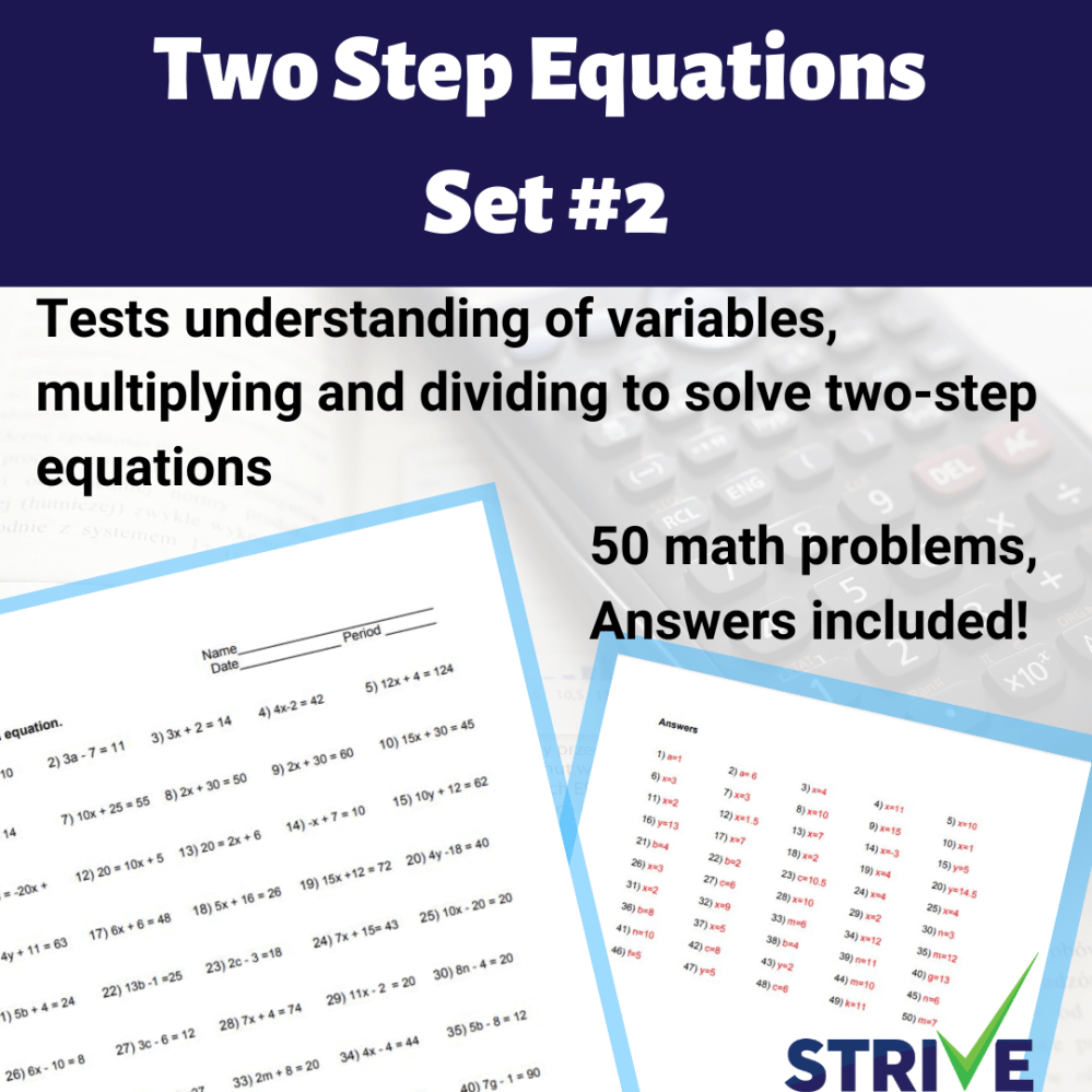 medium resolution of Two Step Equations - Set 2 - Made By Teachers