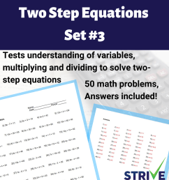 Two Step Equations - Set 3 - Made By Teachers [ 1080 x 1080 Pixel ]