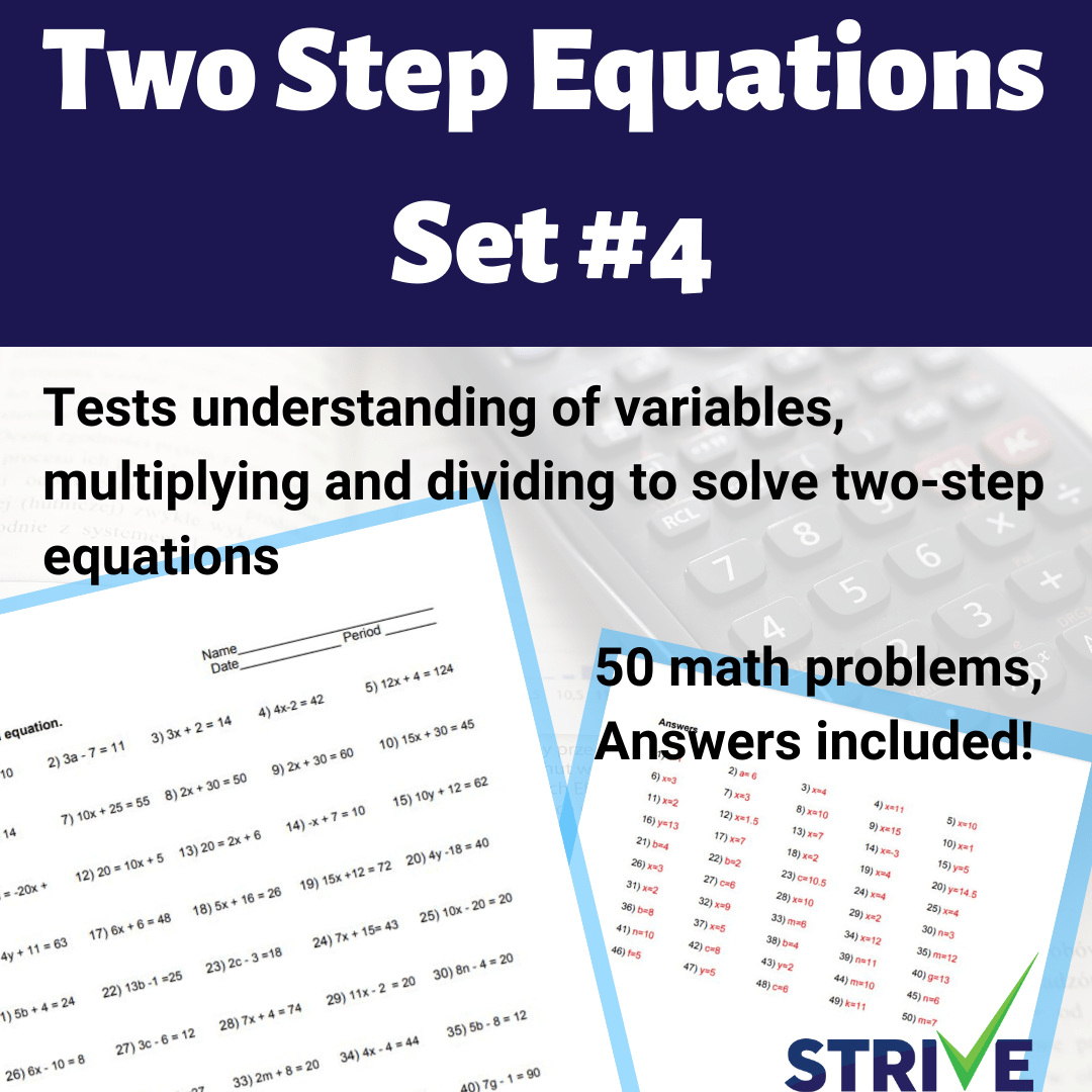 hight resolution of Two Step Equations - Set 4 - Made By Teachers