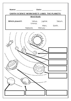 Earth Science worksheets: Label the planets in our solar