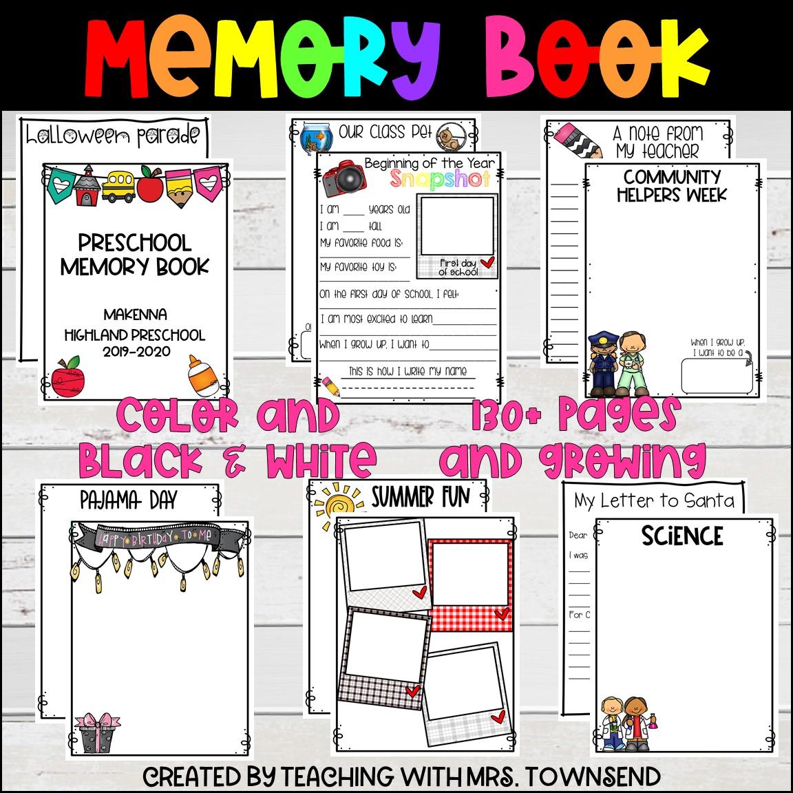 Memory Book Preschool Kindergarten