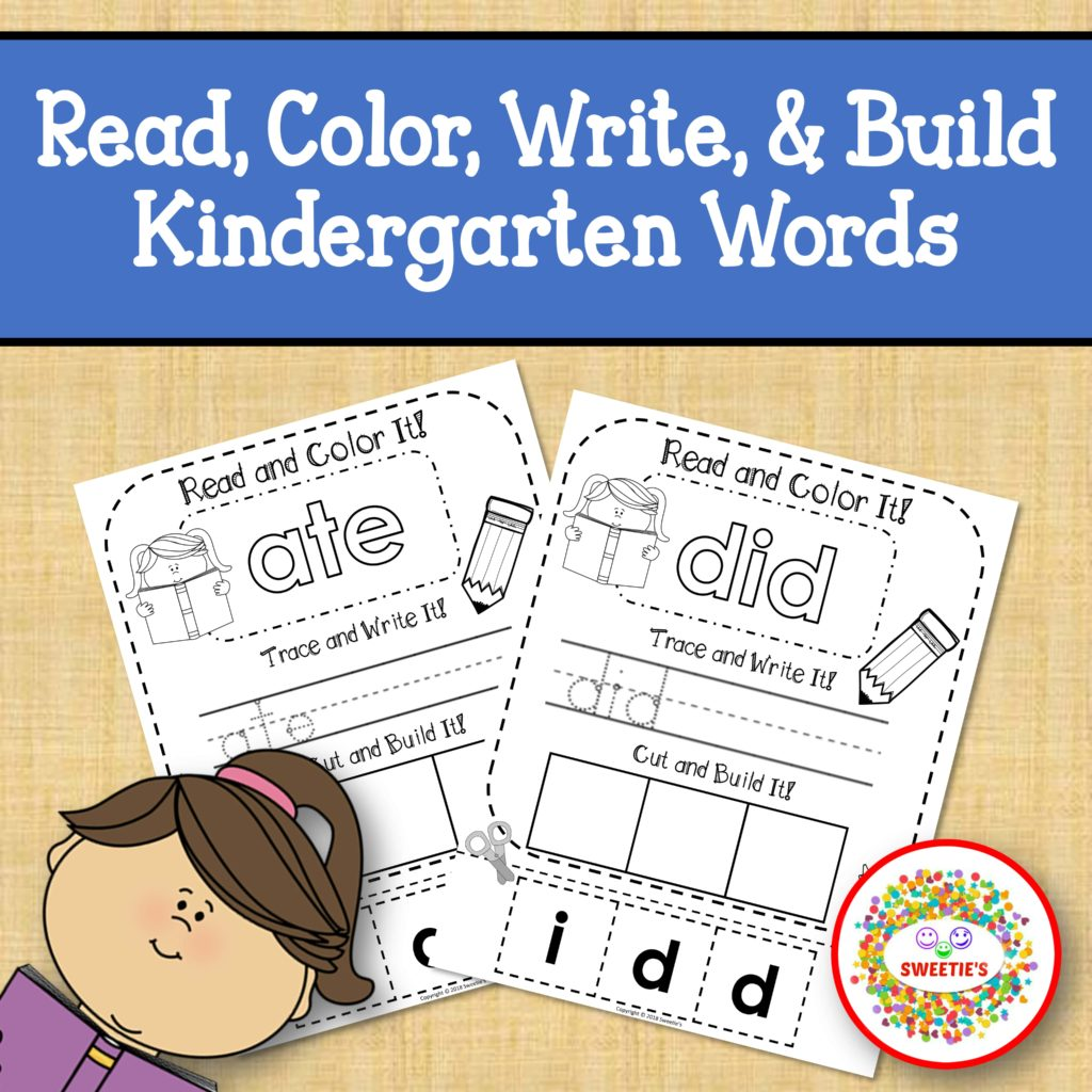 Dolch Kindergarten Read Write Build A Word Worksheets