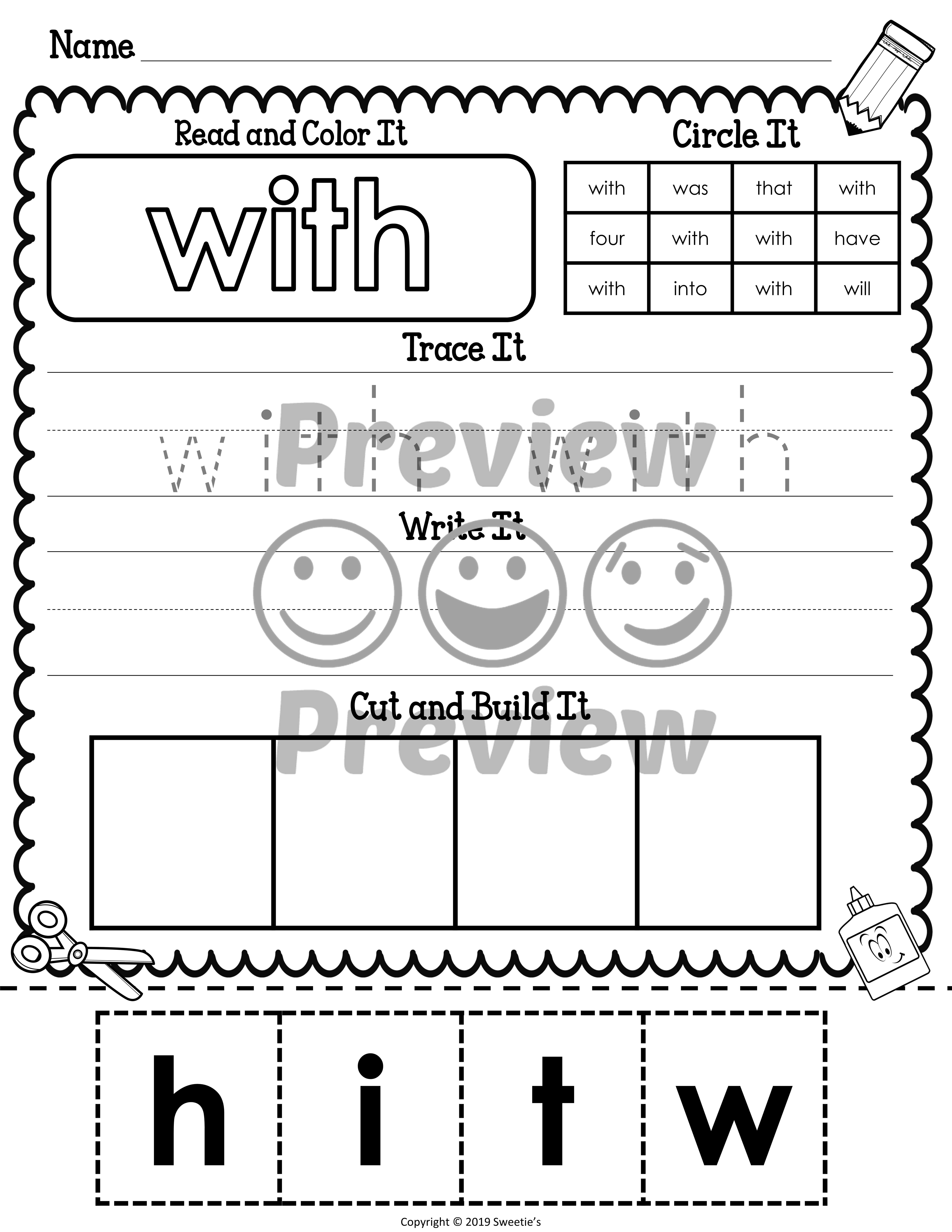 Dolch Kindergarten Sight Word Worksheets