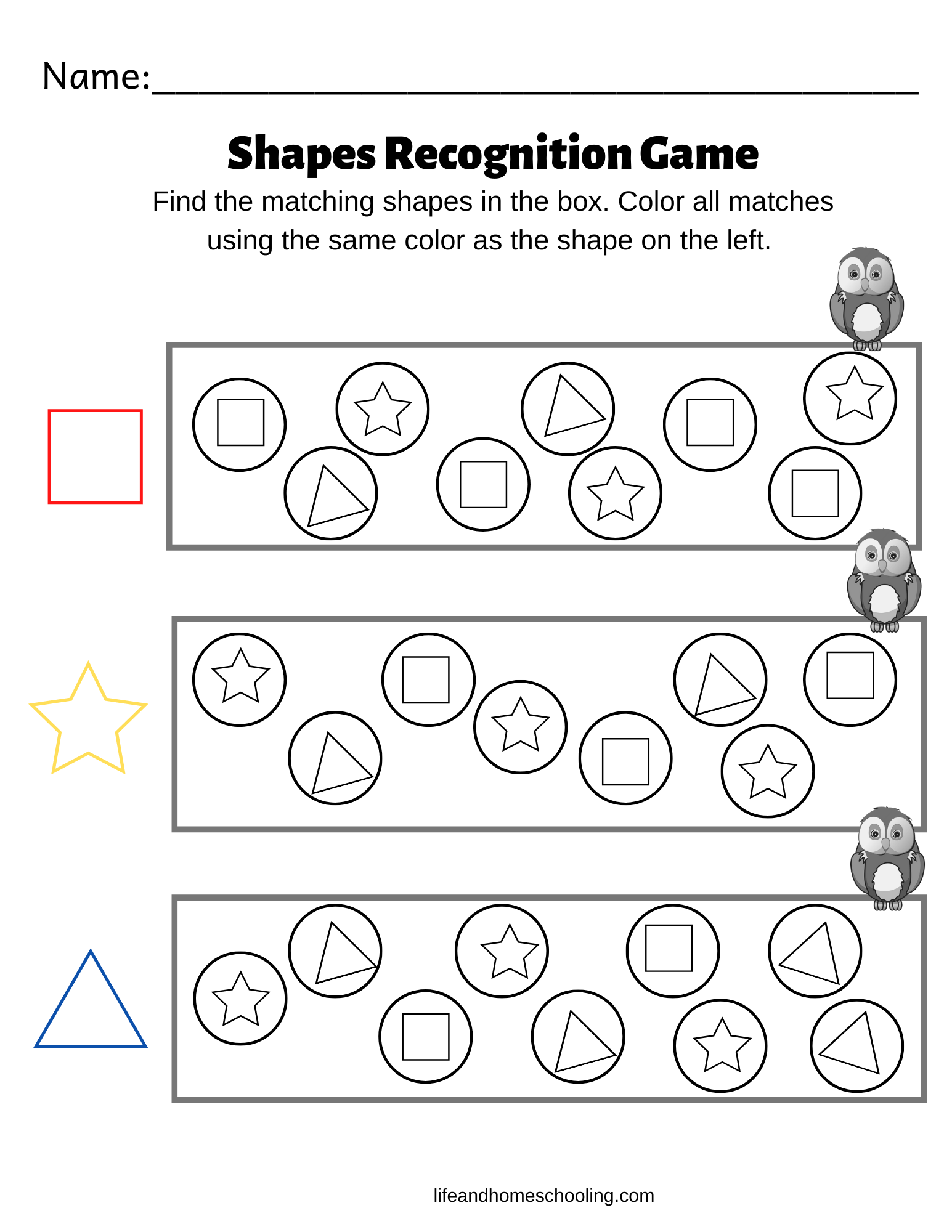 Shapes Recognition Activity Worksheets