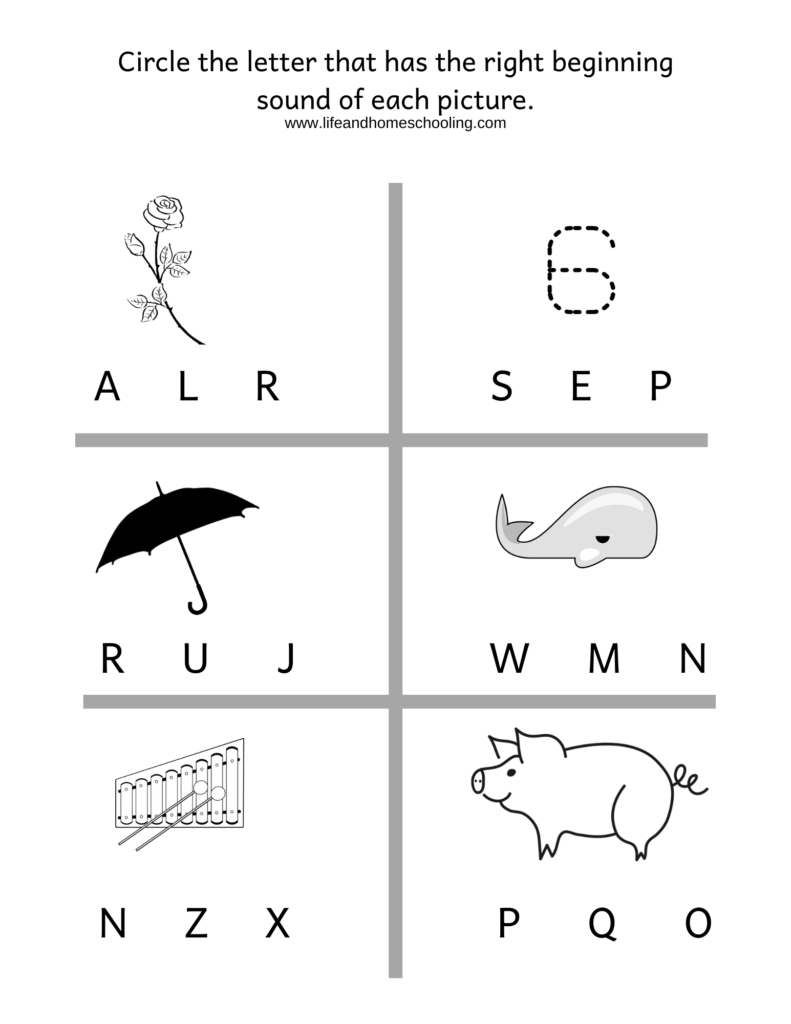 Beginning Sound Phonics Worksheet