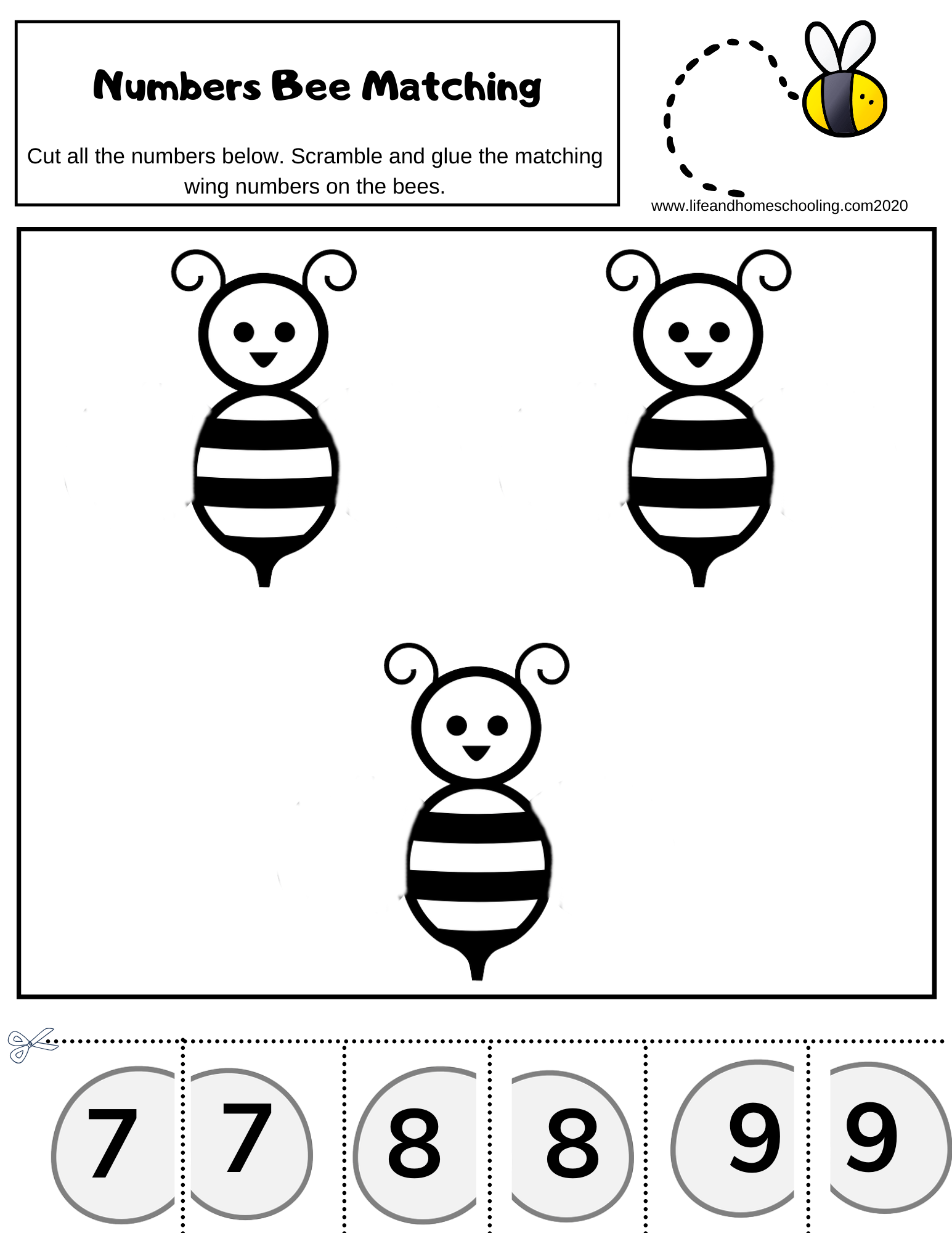 Preschool Number Matching Activity Worksheets