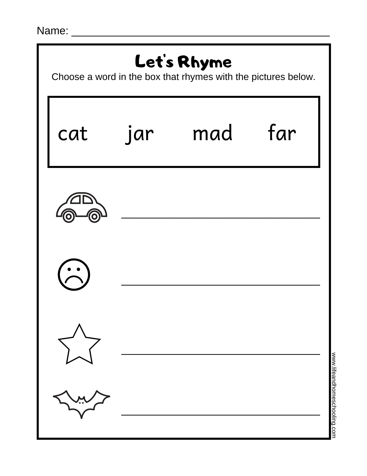 Preschool Rhyming Worksheets