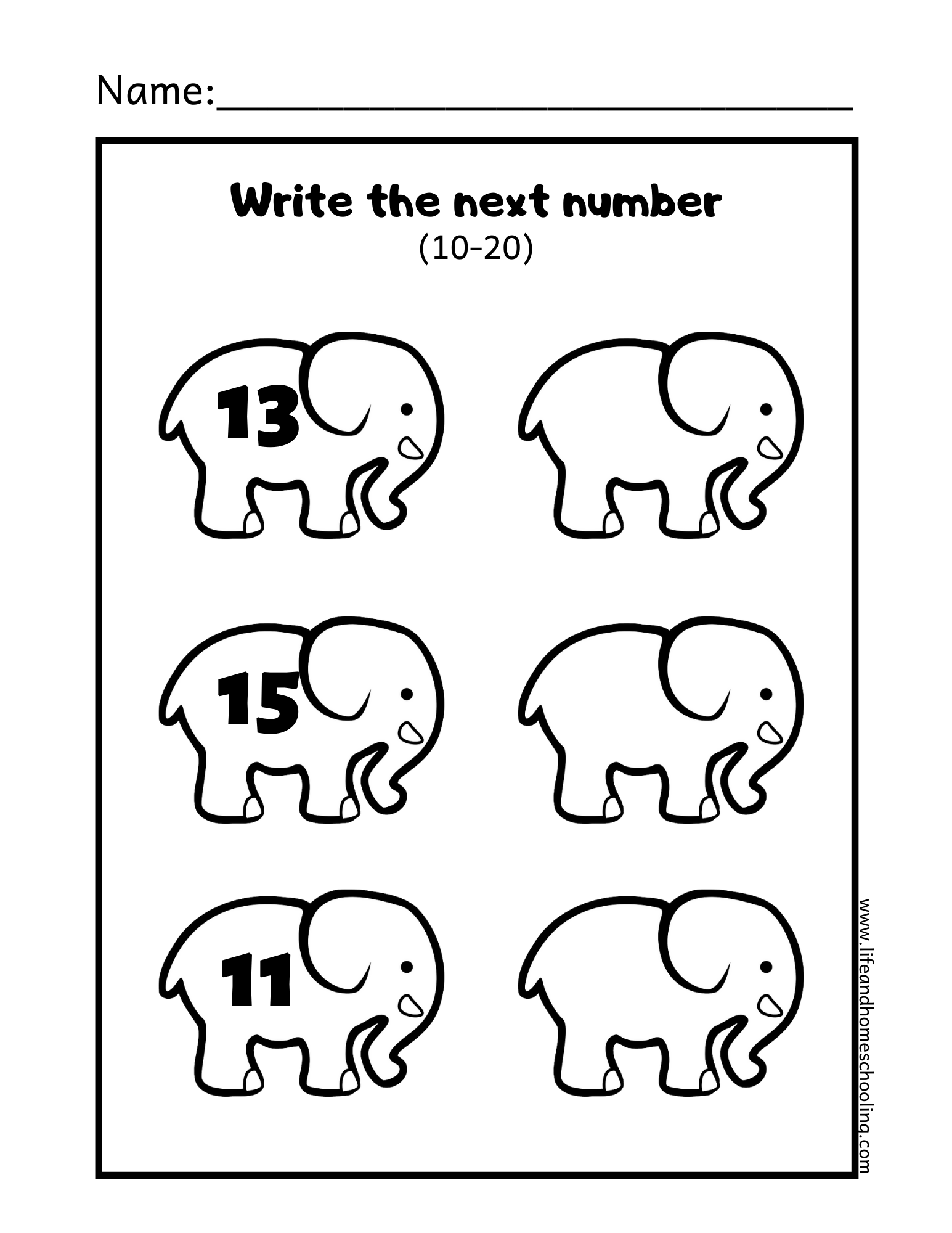 Kindergarten Write The Missing Numbers 11 20
