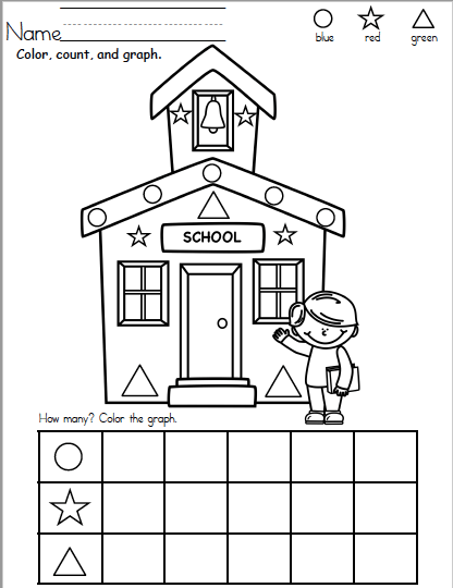 Free Back To School Shape Counting and Graphing Worksheet
