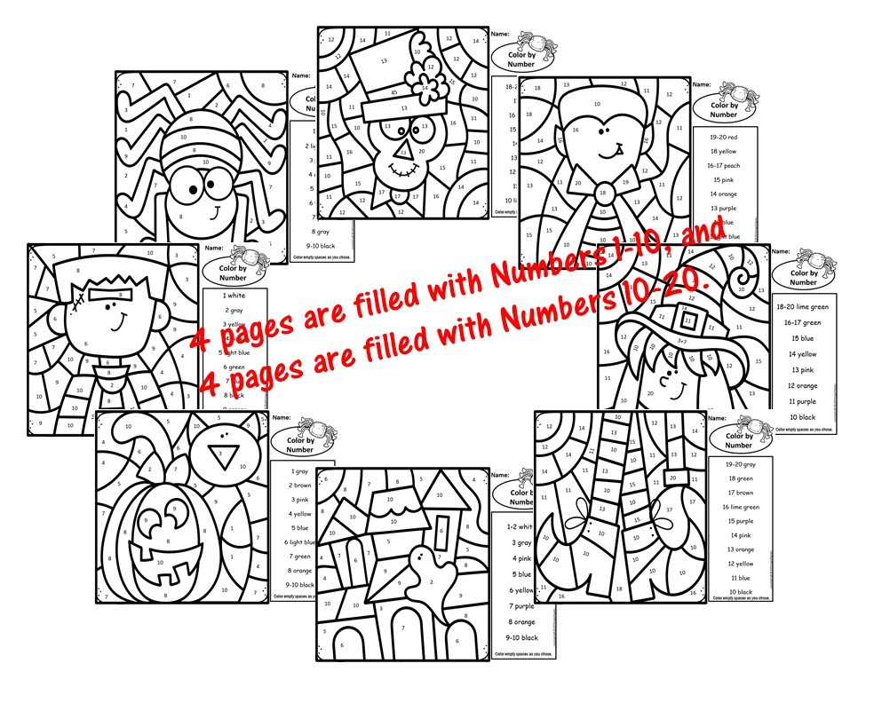 Halloween Color by Number Addition Subtraction BUNDLE Day