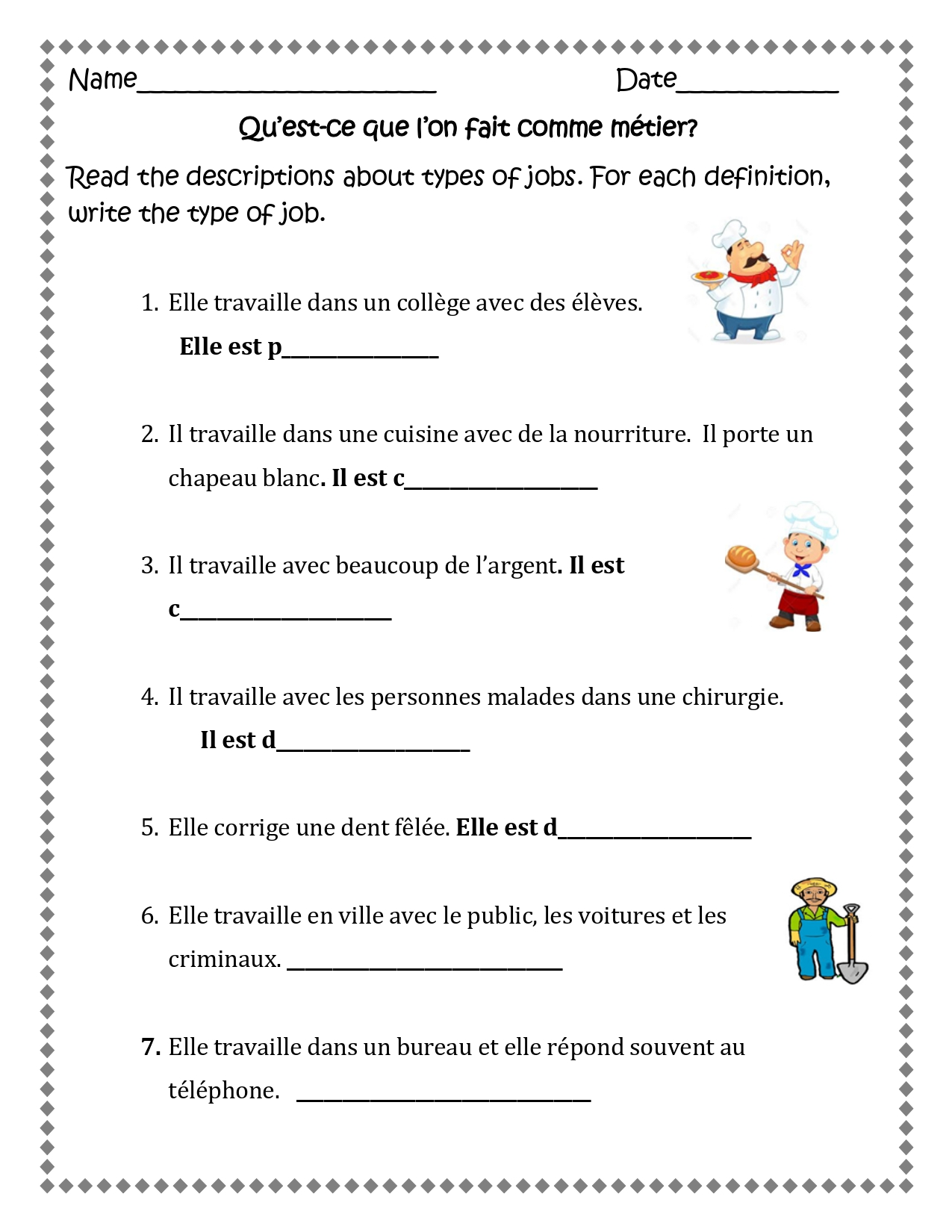 Les Professions French Jobs 11 Worksheets For Distance