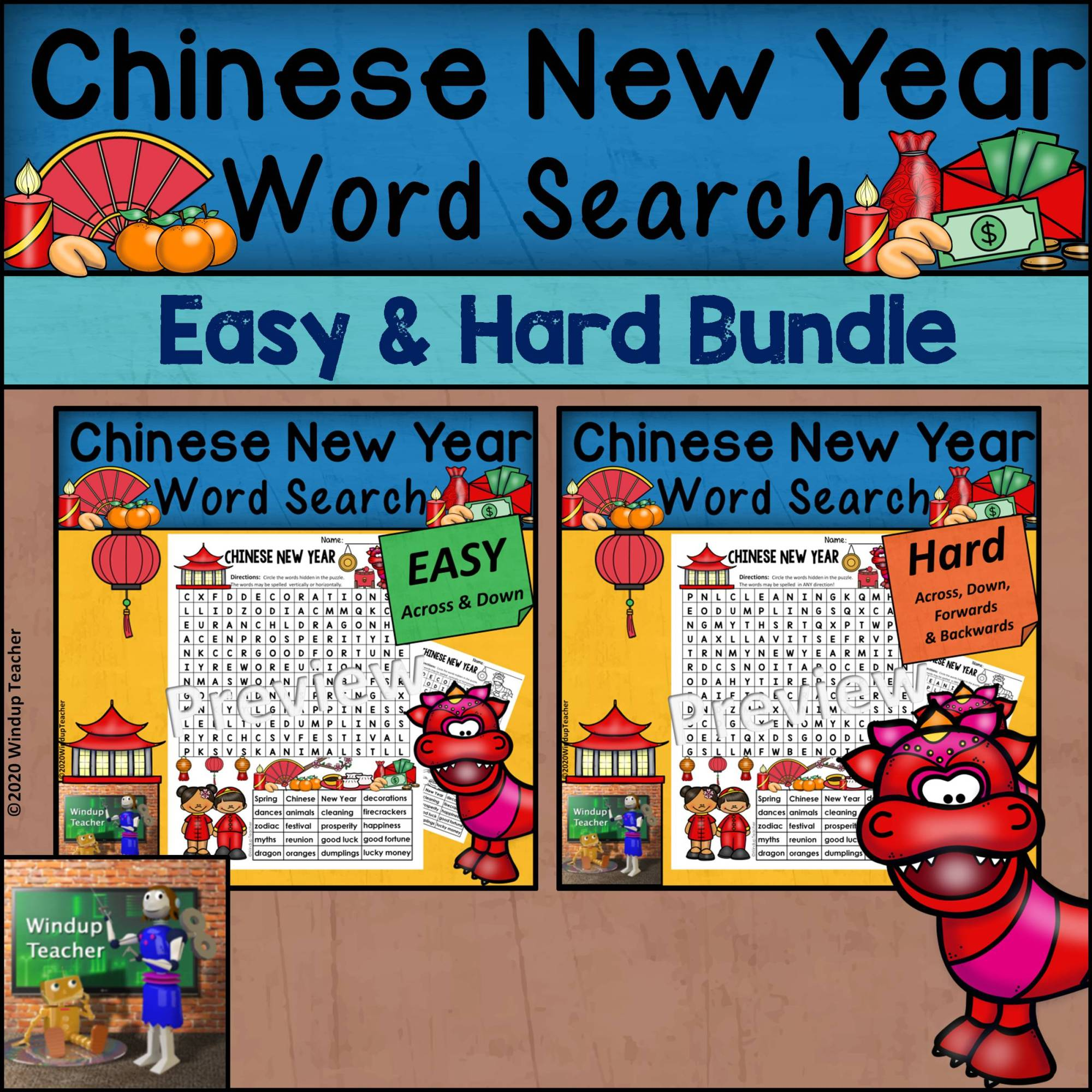hight resolution of Chinese New Year Word Search BUNDLE - Easy and Hard Bundle - Madebyteachers