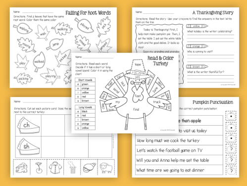small resolution of Thanksgiving Reading and Math No-Prep Worksheets 1st Grade - Made By  Teachers