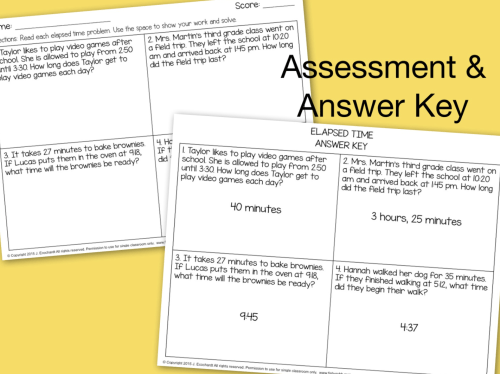small resolution of Elapsed Time Word Problems Task Cards \u0026 Assessment - Made By Teachers