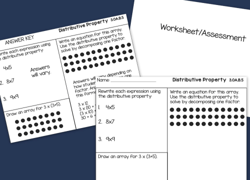 small resolution of Distributive Property of Multiplication Worksheet Posters Task Cards - Made  By Teachers