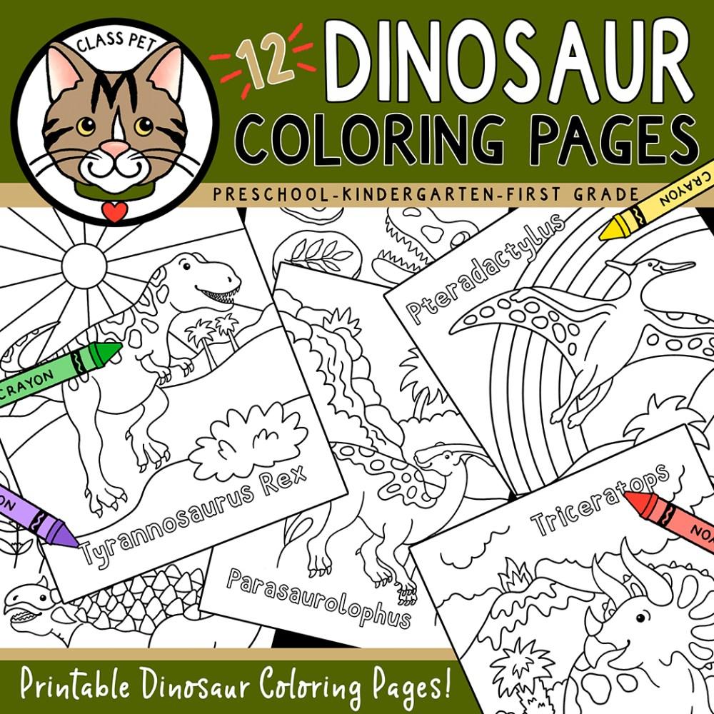 medium resolution of Dinosaur Coloring Pages for Preschool   Kindergarten   First Grade - Made  By Teachers