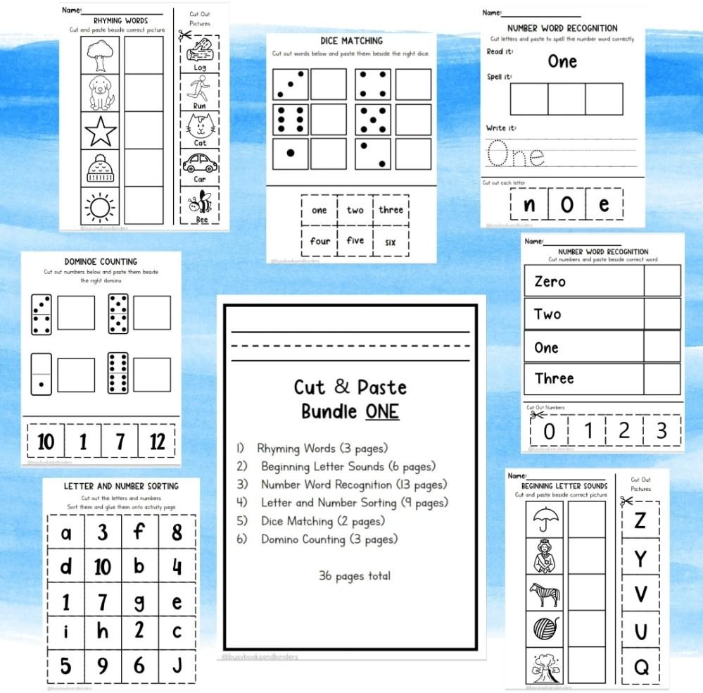 medium resolution of Kindergarten Grade One Cut and Paste Worksheets - Madebyteachers