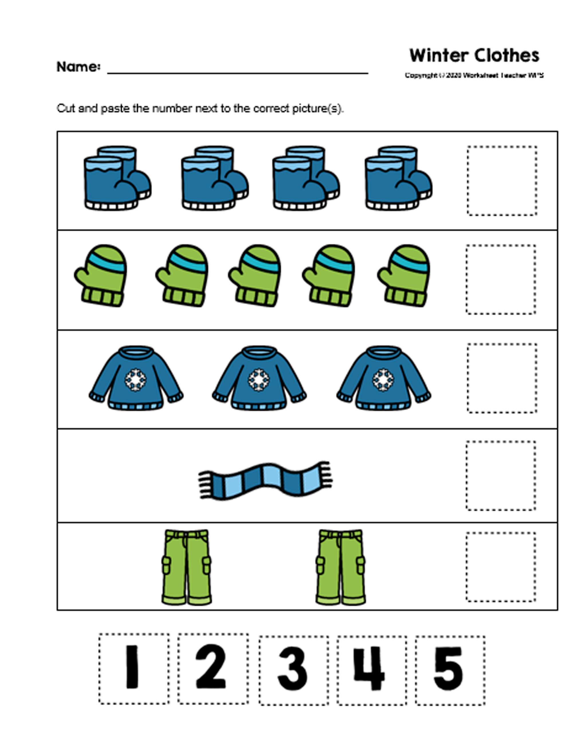 10 Winter Clothes Preschool Curriculum Activities Bundle
