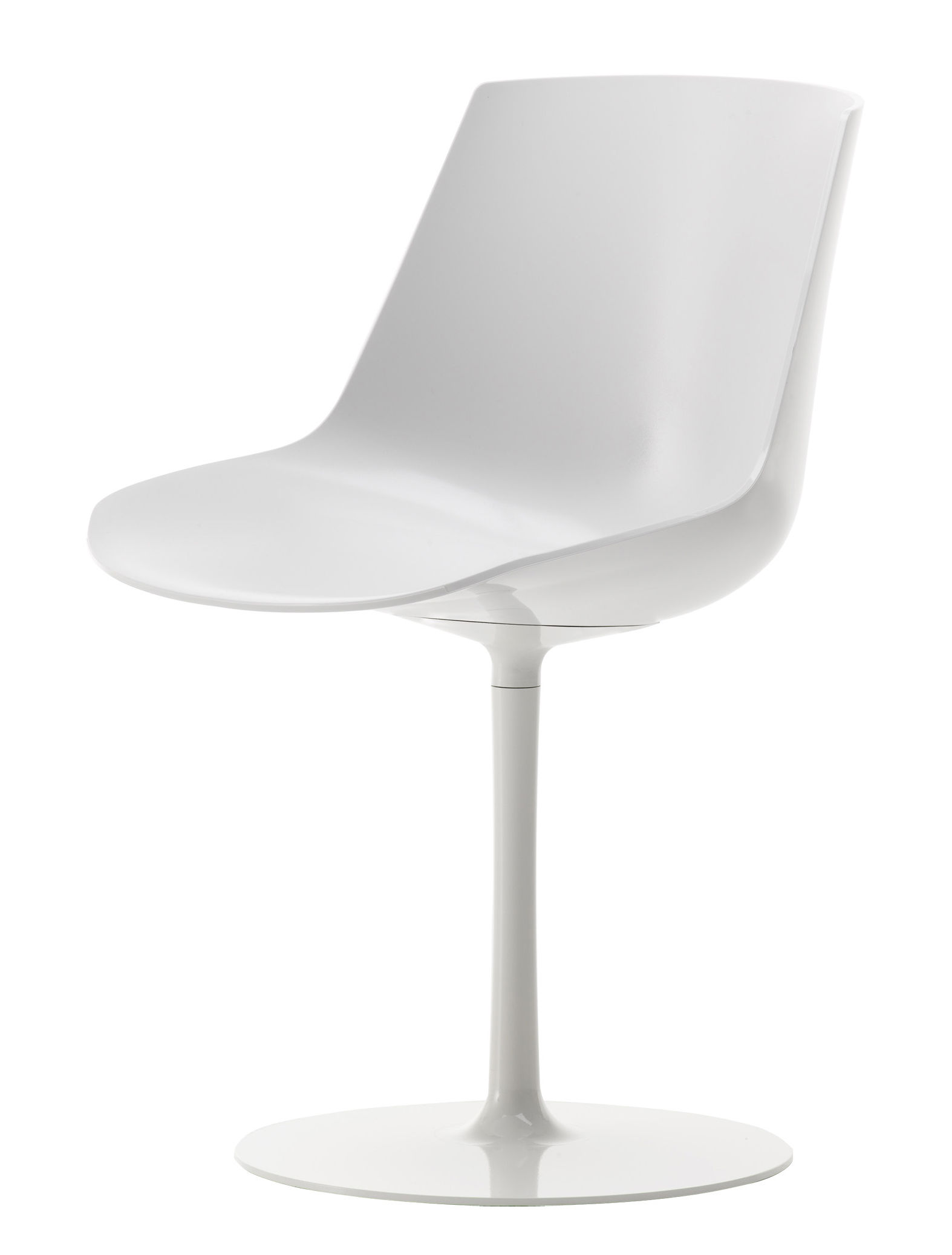 plastic swivel chair four dining set flow seat and metal legs white shell