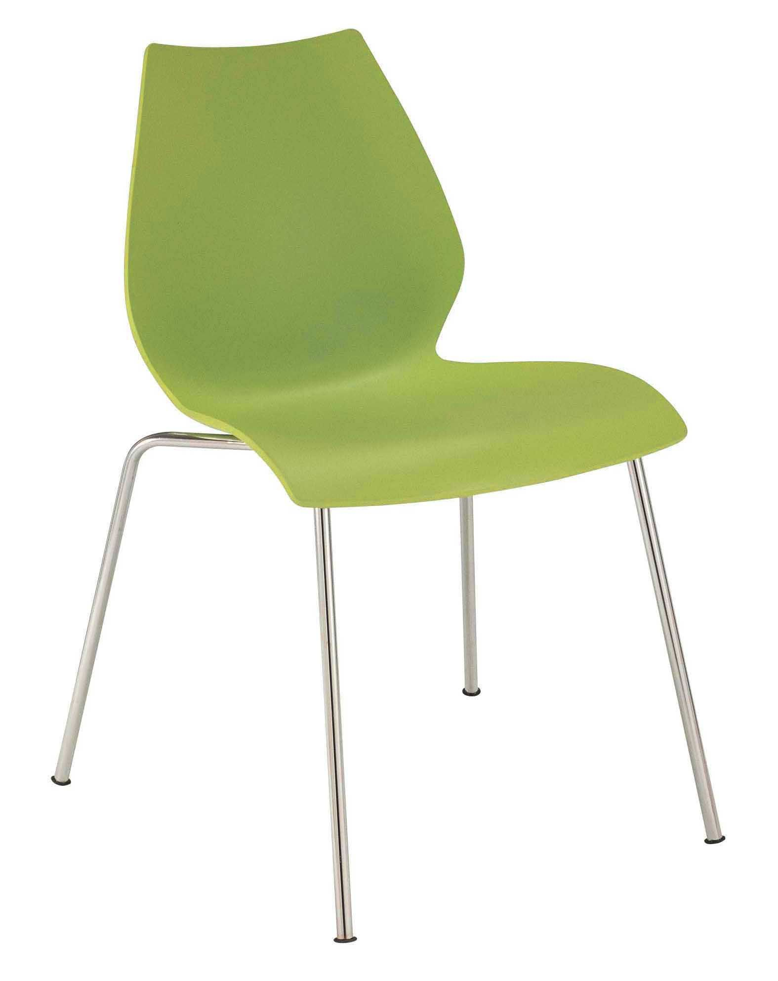 plastic chairs with steel legs co chair lift accident maui stackable seat and metal green by