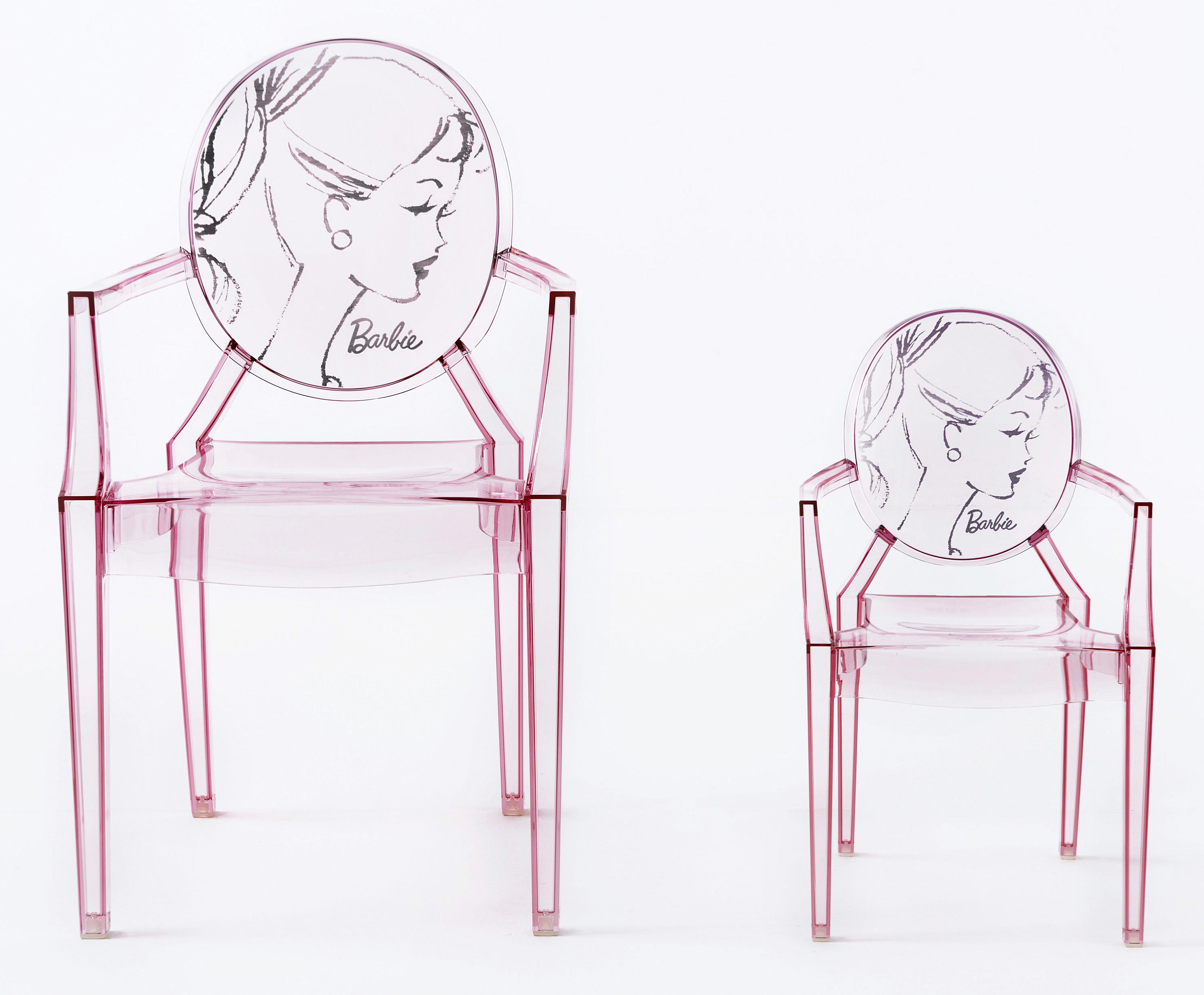 kids ghost chair office in amazon lou barbie children armchair pink by kartell