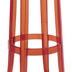 Ghost Chair Bar Stool Cover Sash Ties Charles H 75 Cm Plastic Orange By Kartell
