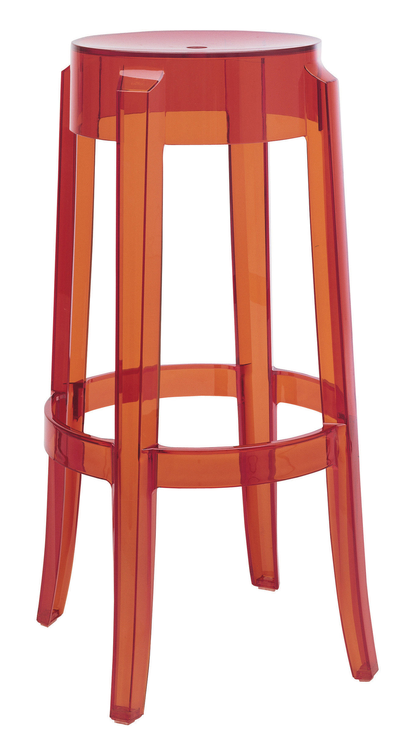 ghost bar chair office spare parts charles stool h 75 cm plastic orange by kartell