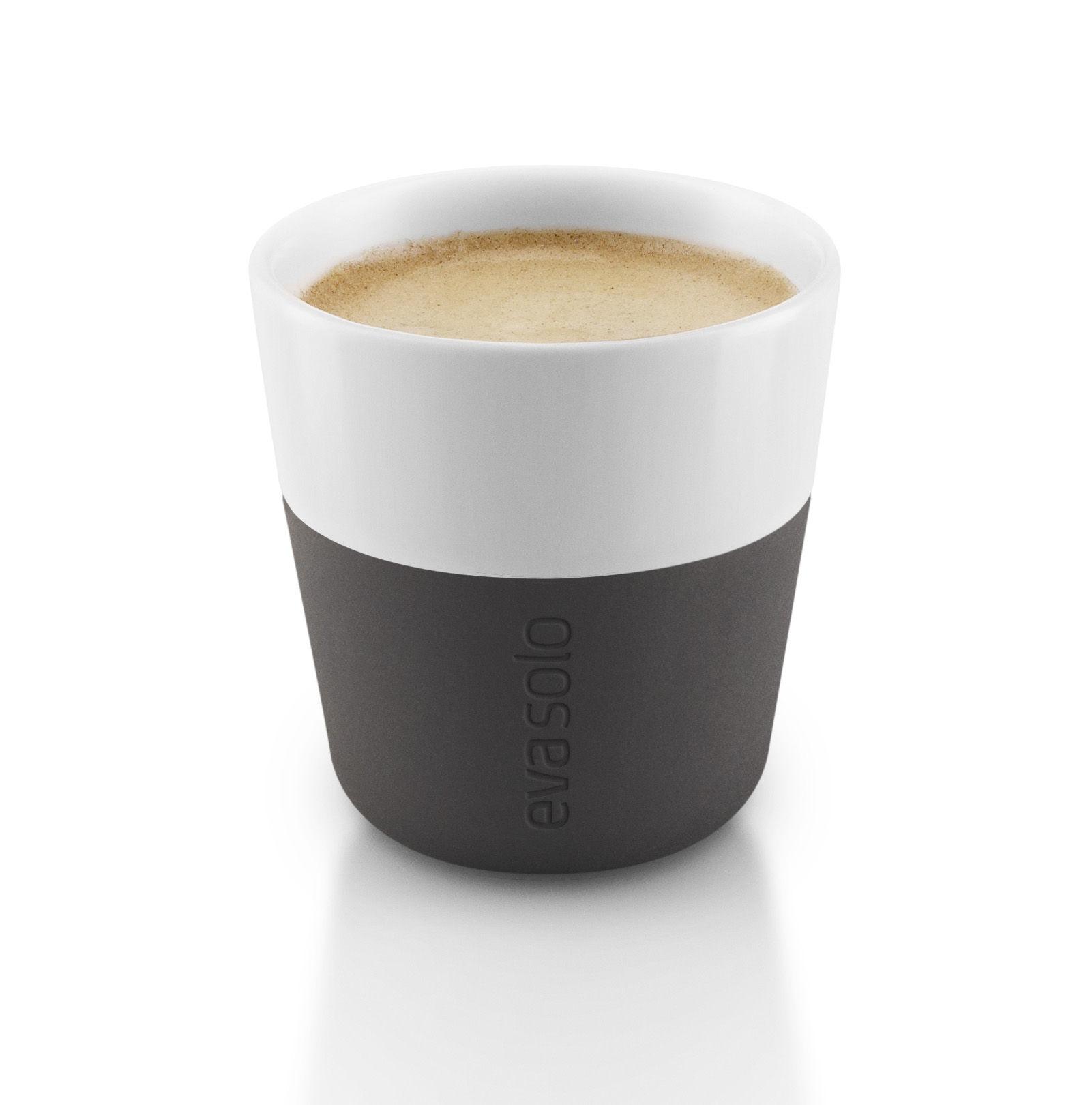 Espresso cup  Set of 2  80 ml White  Carbon black
