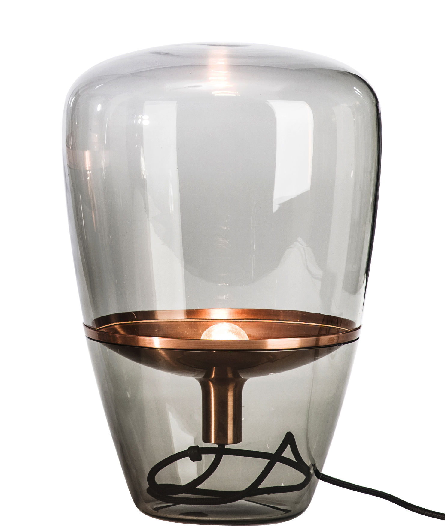 Balloon Small Table lamp Smoke glass  Copper by Brokis