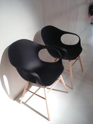 Elephant Wood Armchair  Plastic shell  wood legs Brown